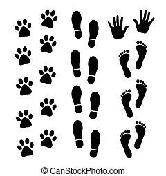 Vector set of black footprints