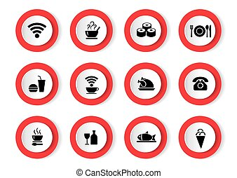 Vector set of black icons with food