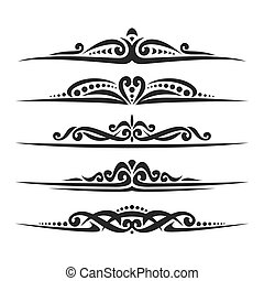 Vector set of black page dividers