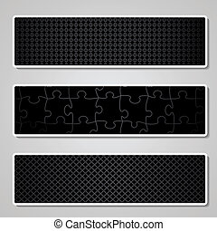 Vector set of black pattern banners