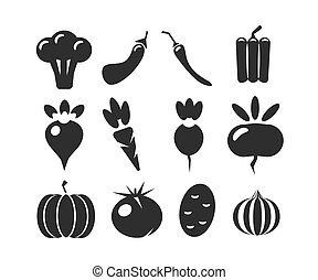 Vector set of black silhouettes  various vegetables isolated on a white background.