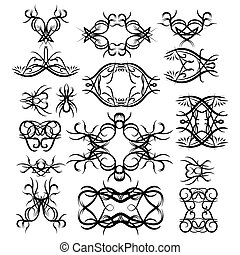 Vector set of Black tribal elements.