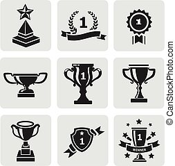 Vector set of black trophy and awards icons