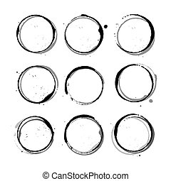 Vector set of black Wine stain circles, splashes and spot isolated on white background. Watercolor hand drawing glass marks.
