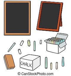 vector set of blackboard and chalk