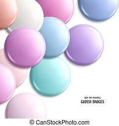 Vector set of blank, glossy badges or web button. Pastel shades.