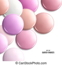 Vector set of blank, glossy badges or web button. Pink pastel shades.