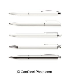 Vector Set of Blank Pens Isolated on White