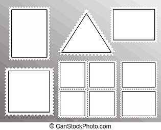 set of blank postage stamps - Vector set of blank postage...