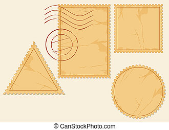 vector set of blank postage stamps (old post stamp set,...