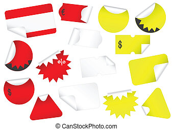 Vector set of blank retail tags wit