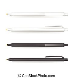 Vector Set of Blank White and Black Pens.Template for advertising and corporate identity.Mock Up Template Ready For Your Design. Vector Isolated Illustration.