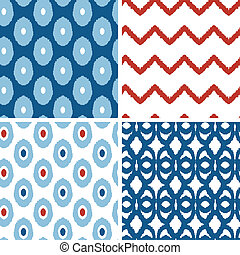 Vector set of blue and red ikat geometric seamless patterns...
