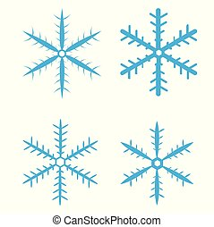 Vector set of blue snowflakes on white background