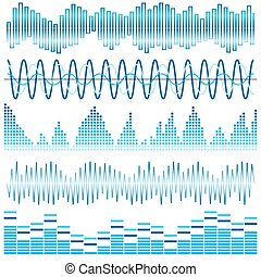 Vector set of blue sound waves. Audio equalizer. Sound & audio waves