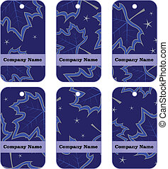 blue tags with maple leaves
