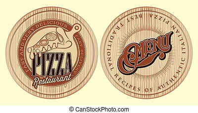 vector set of boards for pizza with