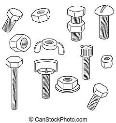 vector set of bolt and nut