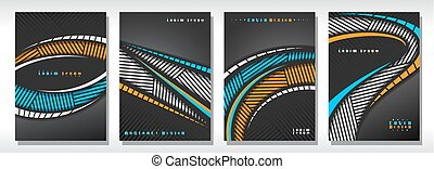 Vector set of book Covers, 4 grey unusual layouts of simple ...
