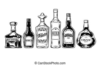 Vector set of bottles for alcohol