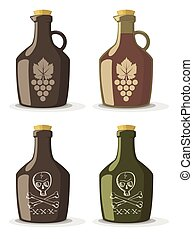 Vector set of bottles for wine or rum