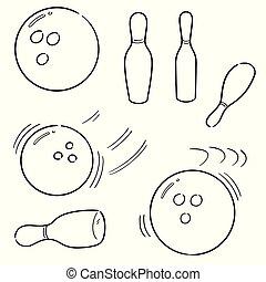 vector set of bowling ball and pin