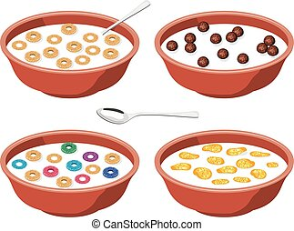 vector set of bowls with breakfast cereal in milk