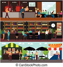 Vector set of brewery and beer restaurant interior concept...