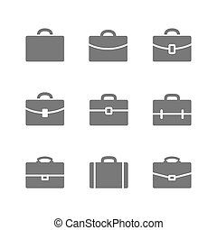 Briefcase - Vector set of Briefcase icons. Black Briefcase, ...
