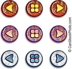 Vector set of bright buttons: forward, backward, contents