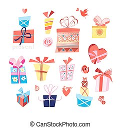 Vector set of bright gifts in boxes