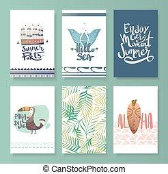 Vector set of bright summer card.
