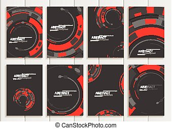 Vector set of brochures in abstract style with red shapes on...