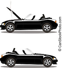 Vector set of broken cartoon black cabriolet sport car before and after crash isolated on white