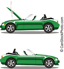 Vector set of broken cartoon green cabriolet sport car before and after crash isolated on white