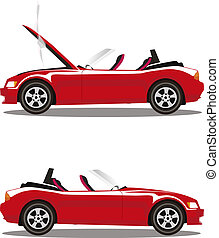 Vector set of broken cartoon red cabriolet sport car before and after crash isolated on white
