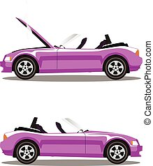 Vector set of broken cartoon rose cabriolet sport car before and after crash isolated on white