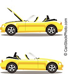 Vector set of broken cartoon yellow cabriolet sport car before and after crash isolated on white