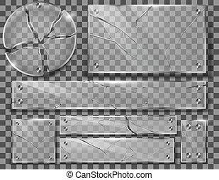 Vector set of broken transparent glass plates