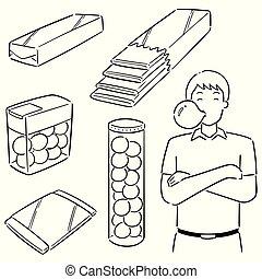vector set of bubble gum