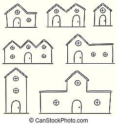 vector set of building