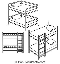 vector set of bunk bed