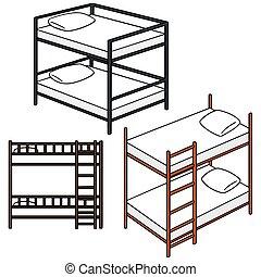 cartoon bunk bed. Vector Set Of Bunk Bed Cartoon T