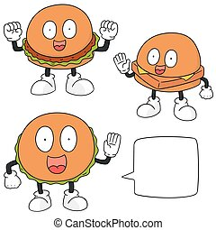 vector set of burger cartoon