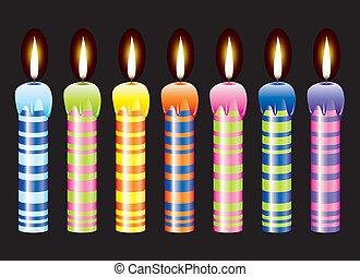 vector set of burning candles