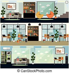 Vector set of business interior posters, banners in flat style