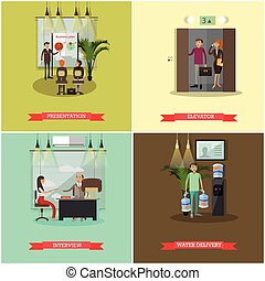 Vector set of business people concept posters, banners.