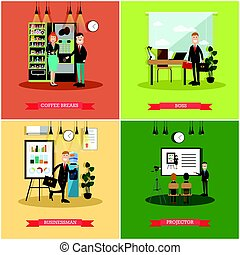 Vector set of business people posters in flat style