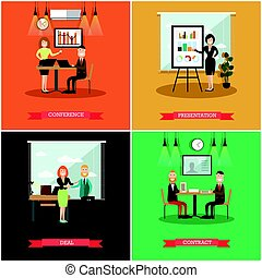 Vector set of business people square posters in flat style