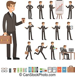 Vector set of businessman in different action poses with accessories. Funny characters illustrations